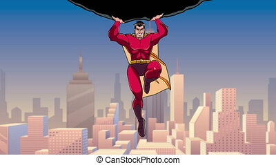 Superhero Holding Boulder above City - Looping animation of...