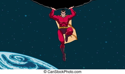 Superhero Holding Boulder in Space - Looping animation of...