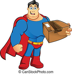 Superhero - Holding Parcel - A cartoon character...