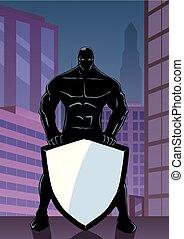 Superhero Holding Shield in City Vertical