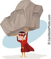 Superhero holds rock. Vector flat cartoon illustration