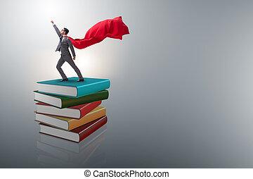 superhero, hombre de negocios, en, educación, concepto, con, libros
