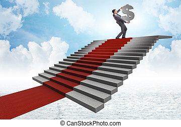 superhero, hombre de negocios, escalera que sube, alfombra roja