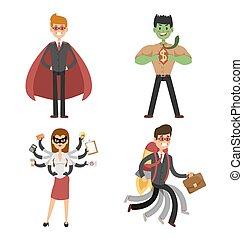 superhero, hombre de negocios, y, mujer, en acción, vector, conjunto