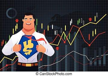 superhero, homem negócios, em, finanças, conceito