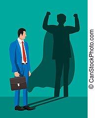 superhero, homme affaires, shadow.