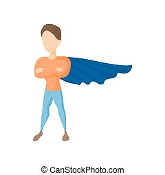 Superhero icon in cartoon style