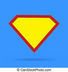 Superhero icon symbol sign on blue background with soft shadow