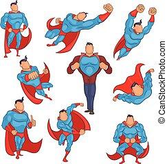 Superhero icons set in cartoon style