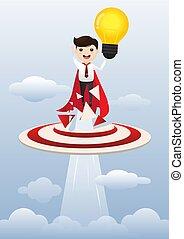 superhero, illustration., affari, concept., idea, creativo, vettore, presa a terra, uomo affari, lightbulb.