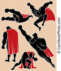 Superhero silhouette in 5 different poses. No transparency and gradients used. See also my previous illustration from the series.