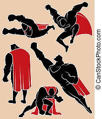 Superhero in Action 2 - Superhero silhouette in 5 different ...