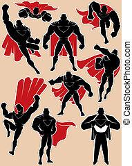 Superhero in Action - Superhero silhouette in 9 different...