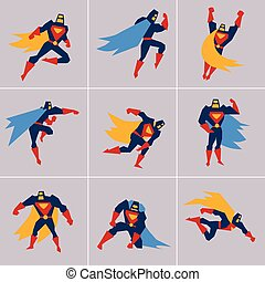 superhero, in, action., silhouette, differente, pose