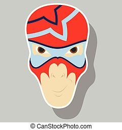 Superhero in Action. Superhero character . Icon in sticker style