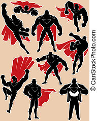 Superhero in Action - Superhero silhouette in 9 different...