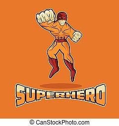 Superhero in Action vector design template