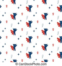 Superhero in cape with stars seamless kid pattern.