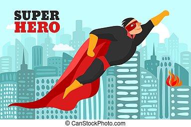 superhero, in, città, illustrazione