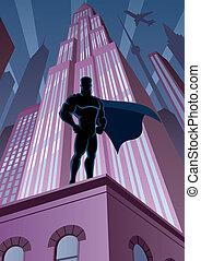 Superhero in City - Superhero watching over the city. No...