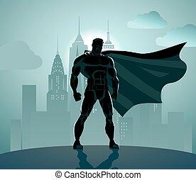 Superhero in City: Superhero watching over the city.
