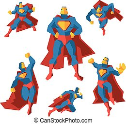 Superhero in different actions. Vector set