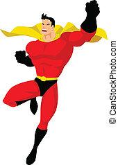 Superhero in flying pose