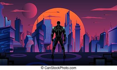 Superhero in Futuristic City 2 - Superhero or superhuman ...