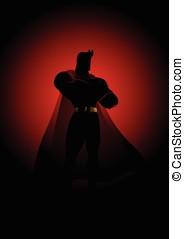 Superhero in gallant pose - Silhouette illustration of a...