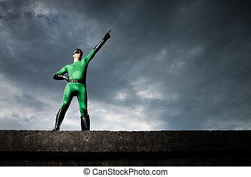 superhero, indicare, con, drammatico, fondo