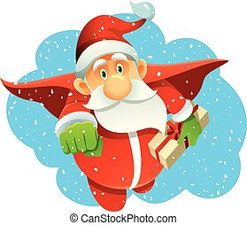 superhero, inverno, claus, presentes, santa, feriado, trazer