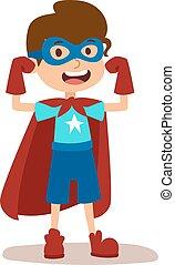 Superhero kid boy cartoon vector illustrationt