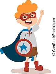 Superhero kid boy cartoon vector illustrationt. Super ...