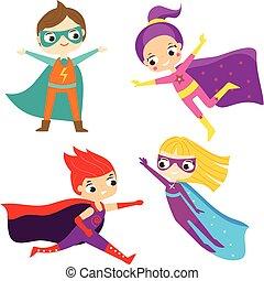 superhero, kids., bambini, il portare, fantasia, costumi