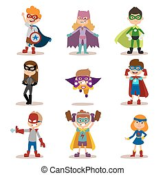 Superhero kids boys and girls cartoon vector illustrationt...