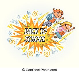 Superhero kids fly to school. Explosion with comic style