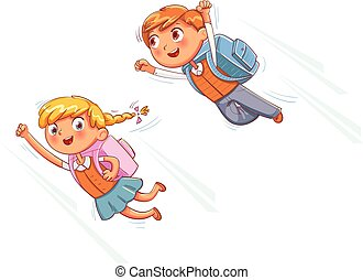 Superhero kids fly to school. Funny cartoon character