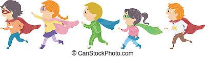 Superhero Kids - Illustration Featuring Kids Dressed as...