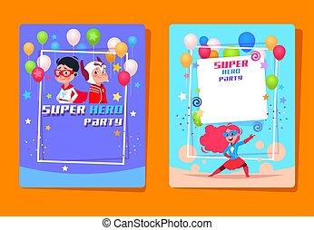 Superhero kids party. Preschool children in superheroes costumes. Birthday invitation vector background