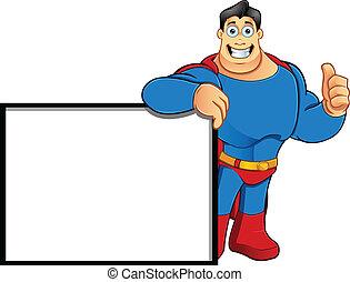 Superhero - Leaning On Sign Thumbs