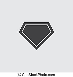Superhero logo icon in black on a gray background. Vector illustration