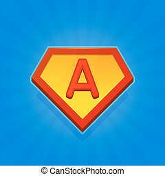Superhero Logo Icon with Letter A on Blue Background. Vector