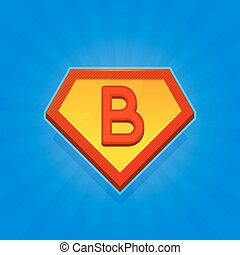 Superhero Logo Icon with Letter B on Blue Background. Vector
