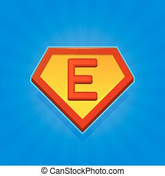 Superhero Logo Icon with Letter E on Blue Background. Vector