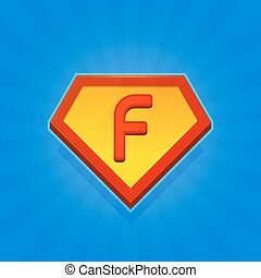 Superhero Logo Icon with Letter F on Blue Background. Vector...