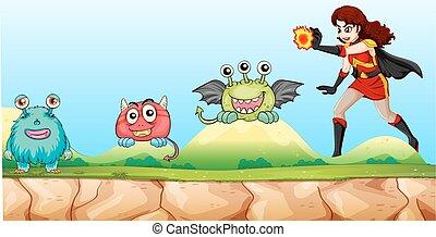 superhero, lucha, monstruos, en el parque
