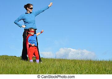 superhero, mãe criança, -, poder menina