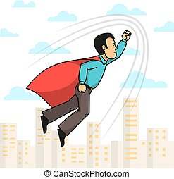 Superhero man flying