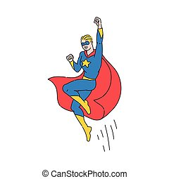 Superhero man flying with cape waving, cartoon vector illustration isolated.