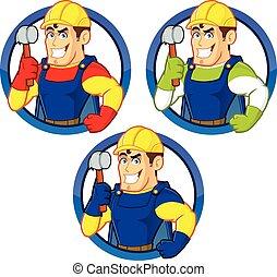 superhero, marteau, tenue